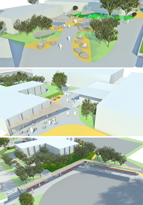 Drawings of landscape proposals for Perins Secondary School