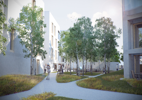 Image of courtyard at Hulme Living development