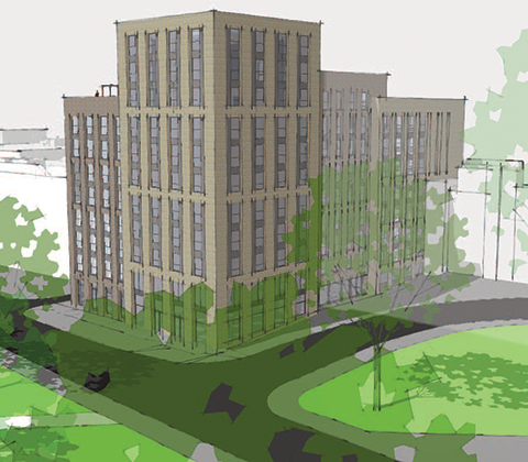 CGI of proposed student halls of resident at Vincent's Walk, Southampton